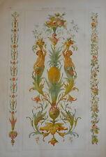 GRANDE Litho TRUMEAU ANANAS FLEUR FRUIT ORNEMENT DÉCORATION 1870 EP.NAPOLÉON III