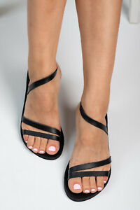 Ancient Greek style black real leather sandals handmade slingback open toe