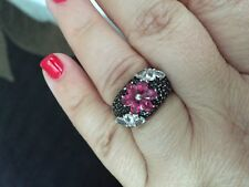 Pink topaz and black spinel flower Silver Ring