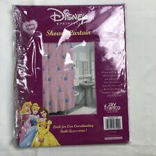Disney Princess Pink Vinyl Shower Curtain Belle Cinderella Sleeping Beauty New