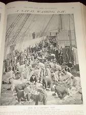 1902 WASH DAY LAUNDRY ON BOARD SHIP NAVY SAILORS SCRUB