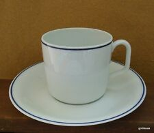 Vintage Georges Boyer  Limoges France Cup and Saucer  White with Cobalt Band