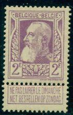 Belgium #91 2fr violet, og, Lh, Vf, Scott $75.00