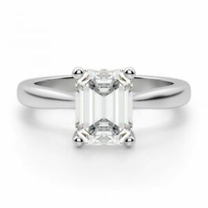 2.00 Ct Emerald Cut White Gold Wedding Ring 18K Solitaire Girl Rings