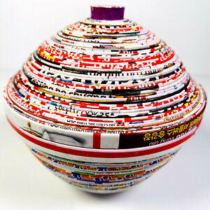 Colourful Paper Recycled Small Trinket Pot With Lid Fair Trade Hand Made Vietnam