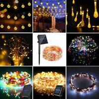 Solar Warm White Night Fairy String Lights Wedding Xmas Party Outdoor Decor Lamp