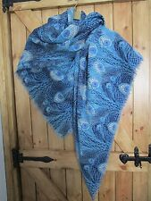 """Vintage Liberty Blue Peacock Feather Print Fine Wool Scarf Wrap Large Shawl 52"""""""