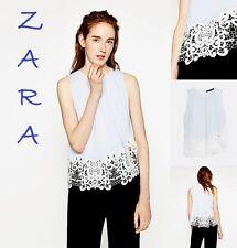 ZARA Striped Poplin Top Asymmetric Crochet LaceHem Sleeveless New Top Size L