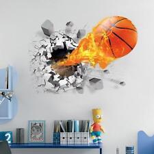 3D Basketball Wall Sticker Kids Boy Room Decal Vinyl Art Mural Wall Decor