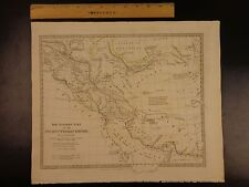 1844 BEAUTIFUL Huge Color MAP of Eastern Ancient Persia Arabia Assyria ATLAS