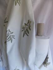 tissu coton polyester blanc en 150 cm de large tissé motif olive