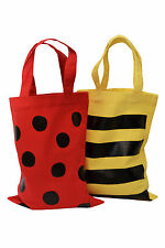 2 PACK. PARTY/GIFT BAG (Small): LADYBIRD/BEE 100% cotton. Reusable.