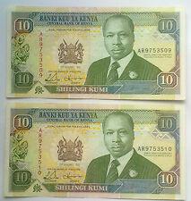 KENYA: 2 x 10 shillings depuis le 2nd janvier 1992 in (environ 5059.68 cm) aUNC CONDITION. consécutives.