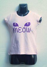 CATS EYES T-Shirt Purple Glitter Cap sleeve Pink T-Shirt MEOW Women's Feline