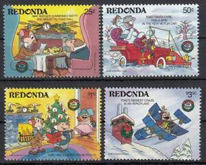 (68516) Antigua Redonda MNH x4 Disney 1986 unmounted mint