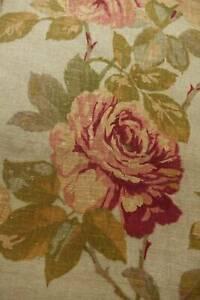 "Vintage superb quality Designers Guild Irish linen fabric - faded roses 46"" x 29"