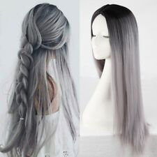 Long Straight Ombre Grey Wigs Synthetic Hair Middle Part Cosplay Wigs for Women