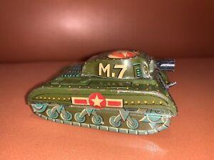 Vintage Cragstan M7 Tin Toy Army Tank