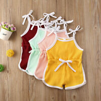 UK Toddler Baby Kid Girl Clothes Summer Strappy Jumpsuit Romper Bodysuit Outfits
