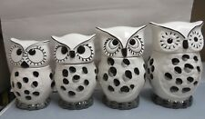 ACK Hand Painted Ceramic Owl 4 Pc. Canister Set #81601 Gray, Black, Ivory New