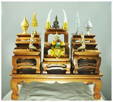 "15"" Altar Thai Wood Carving Tables worship Buddha amulet Set Shelf Statue figure"