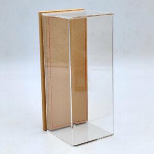 Models Display Case Acrylic Boxes Transparent Dustproof Brown Flannel Base 17cm