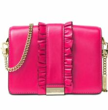 New Michael Kors Jade MD Gusset Clutch rows ruffles bag leather snap ultra pink