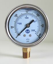 NEW Pressure Gauge Liquid Filled 0 - 300 psi 2000 kpa Air Water Guage Gage AIP