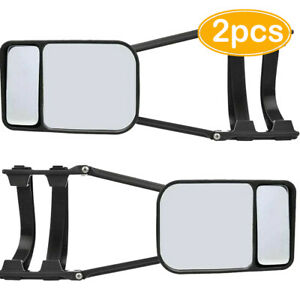 2 Universal Trailer Car Tow Mirror 90° Rotate Blind Spot Wide Angle Glass Towing