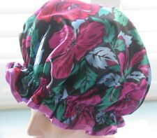 SHOWER CAP VINTAGE FABRIC  HANDMADE, WATERPROOF BLACK  W/ ROSES AND MAGENTA TRIM