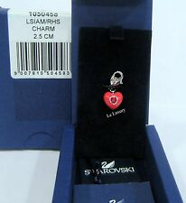 Swarovski Heart Charm Light Siam Crystal Rhodium-Plated Authentic MIB - 1050458