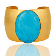 Traditional 18K Gold Plated Turquoise Openable Brass Cuff Bangle Fashion Jewelry