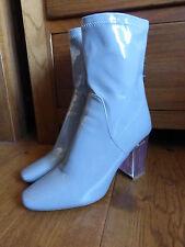 Public Desire Chloe grey patent boots 6 5 VGC Perspex heel smart casual