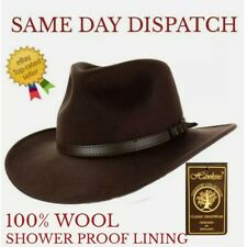 Fedora Hat Wool Showerproof Brown 56cms (M) *BNWT* Hawkins Travel Autumn Winter
