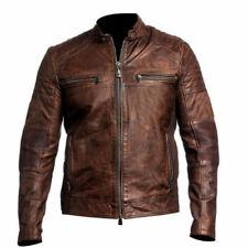 Men Retro Vintage Cafe Racer Motorcycle Distressed Brown Biker Leather Jacket XL