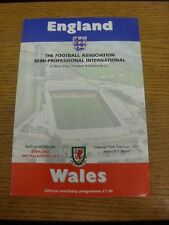 13/02/2001 England Semi-Professional v Wales Semi-Professional [At Rushden & Dia