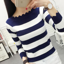 Fashion Women Long Sleeve Stripes Pullover Sweater Basic Shirt Blouse Knit Tops