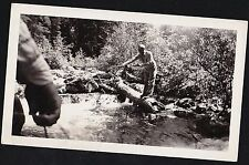 Old Vintage Antique Photograph Man Standing on Log in Water Fishing With Pole