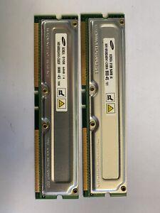 Two Samsung RIMM-6400 256 MB RIMM 800 MHz RDRAM (Rambus DRAM) Memory...