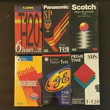 Lot of 6 NEW SEALED various brands VHS tapes T-120 6hrs High Quality