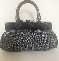 Rare VALENTINO Garavani Glossy Leather Nylon Bows Handbag Bag Purse Made Italy