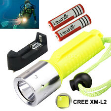 Underwater 2200LM CREE XM-L2 LED scuba Diving Flashlight 18650 torch Waterproof