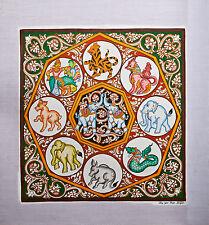 "Original Wall Art Sand Painting Canvas - White Elephant - 39cm x 38cm /15""x 15"""
