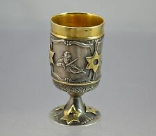 Pokal Trinkbecher 925 Silber/ Gold Wodkabecher Judaica