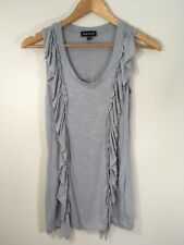 bebe Sport Womens Size Small Gray Tank Top Shirt Sleeveless Ruffle Waterfall Tee