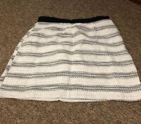 River Island Ladies White Black Mini Summer Skirt Size 8 Slight Glitter Material