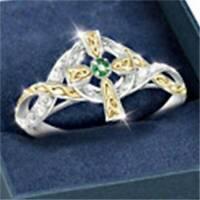 Two-Tone Gold 925 Silber Smaragd Ring Jesus Kreuz Weißer Topas Schmuck Hoc Heiß
