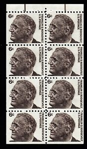 """1284b """"Roosevelt"""" 6c Booklet Pane of 8, Lines in Salvage, Shiny Gum, Unused NH"""