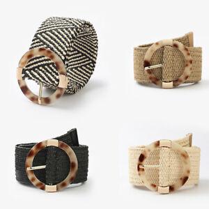 Women PP Straw Weave Belt Leopard Round Plastic Buckle Boho Wide Belts Accessory