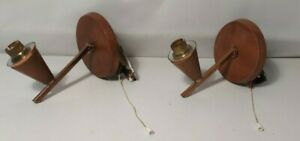 MID CENTURY WALL LIGHT FITTINGS COPPER & WOOD